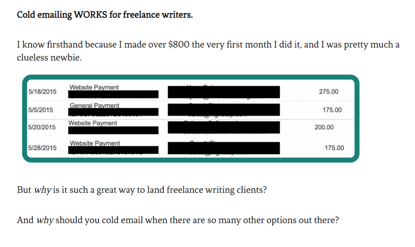 Examples of cold emails working in figures