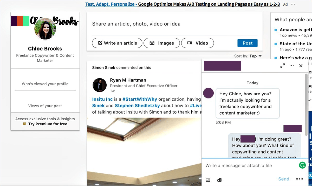 example of client reaching through LinkedIn
