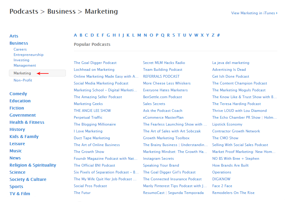 Apple Podcasts list for Marketing