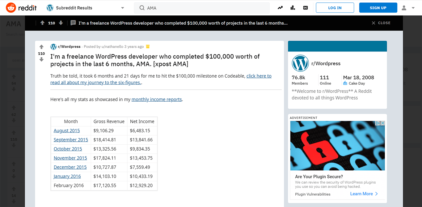 AMA subreddit results example