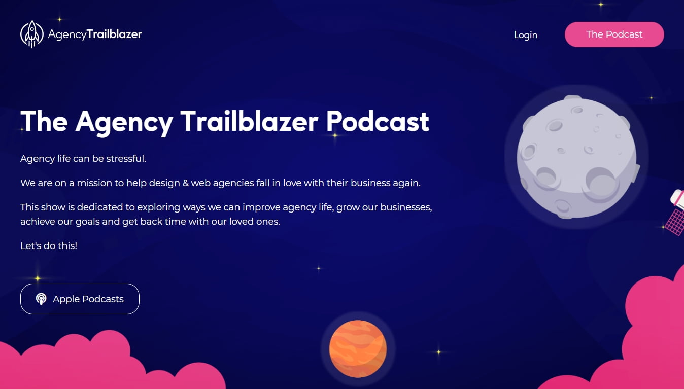 agency trailblazer podcast homepage with listen on itunes button