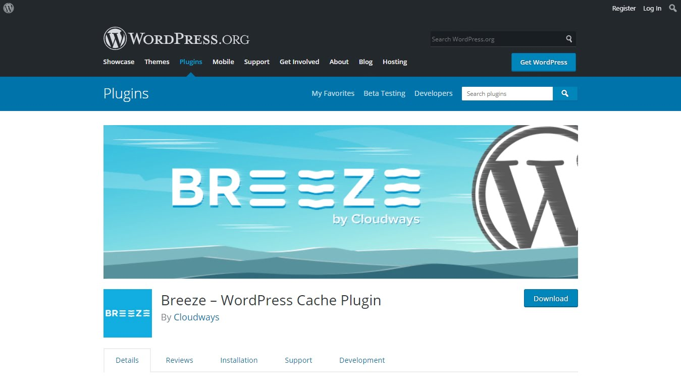bree caching plugin download page on wordpress.org