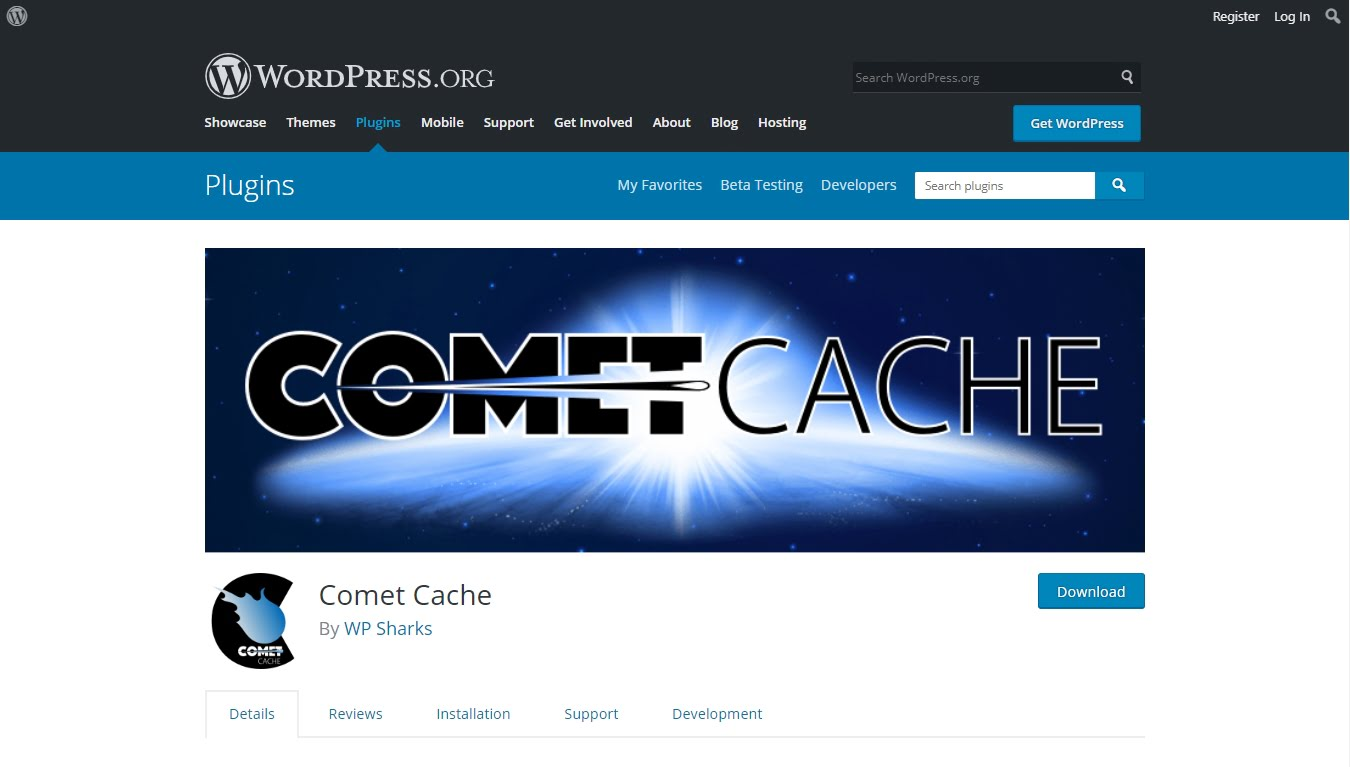 comet cache plugin download from wordpreess.org