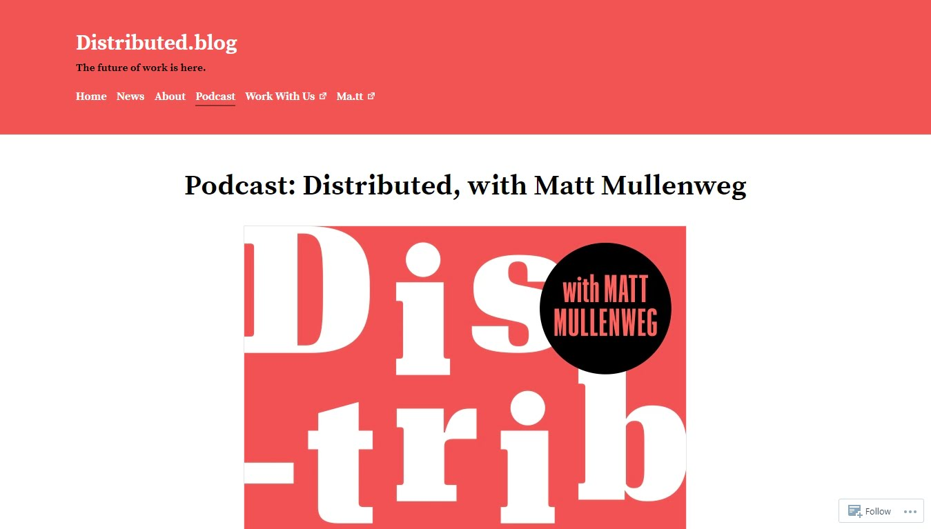 distributed blog podcast homepage with logo