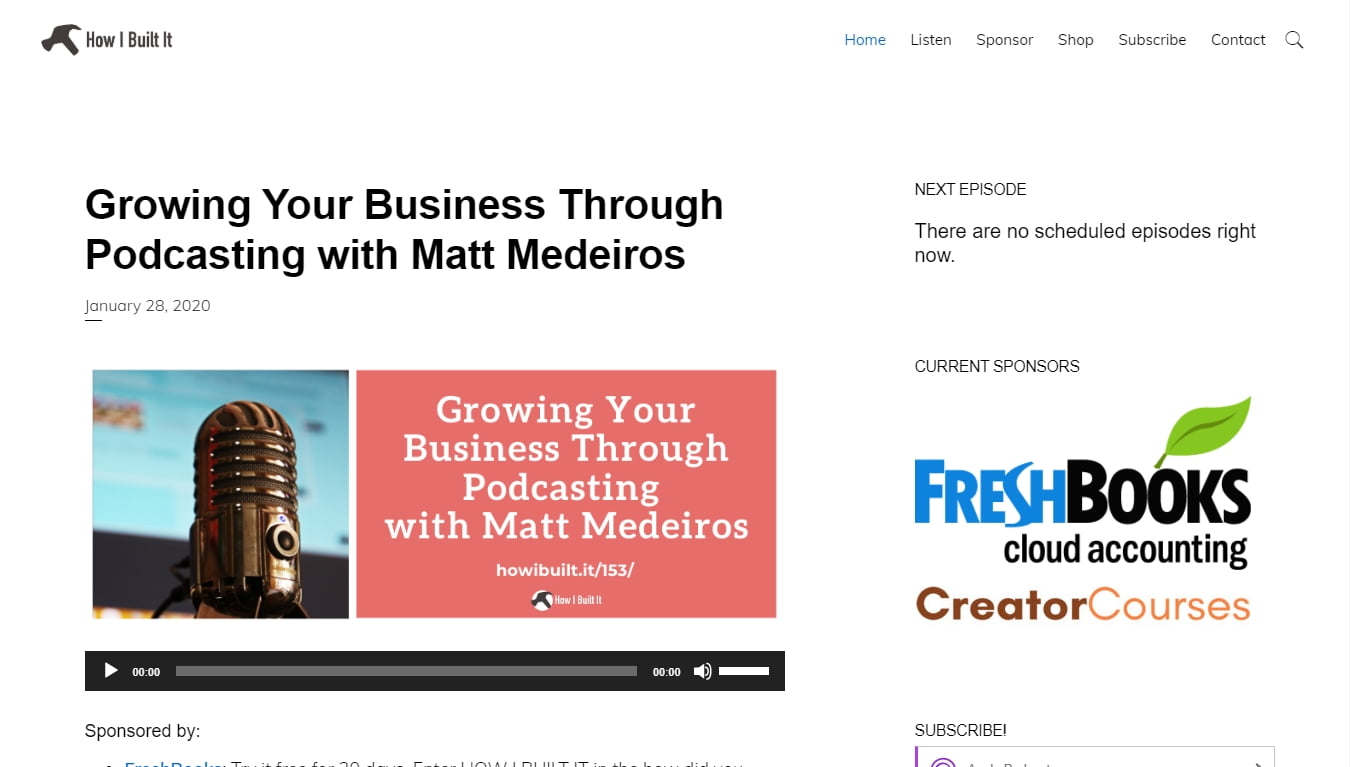 how i built it podcast homepage