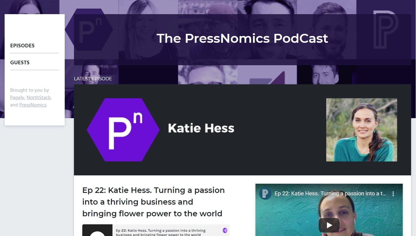 the pressnomics podcast page with latest episode