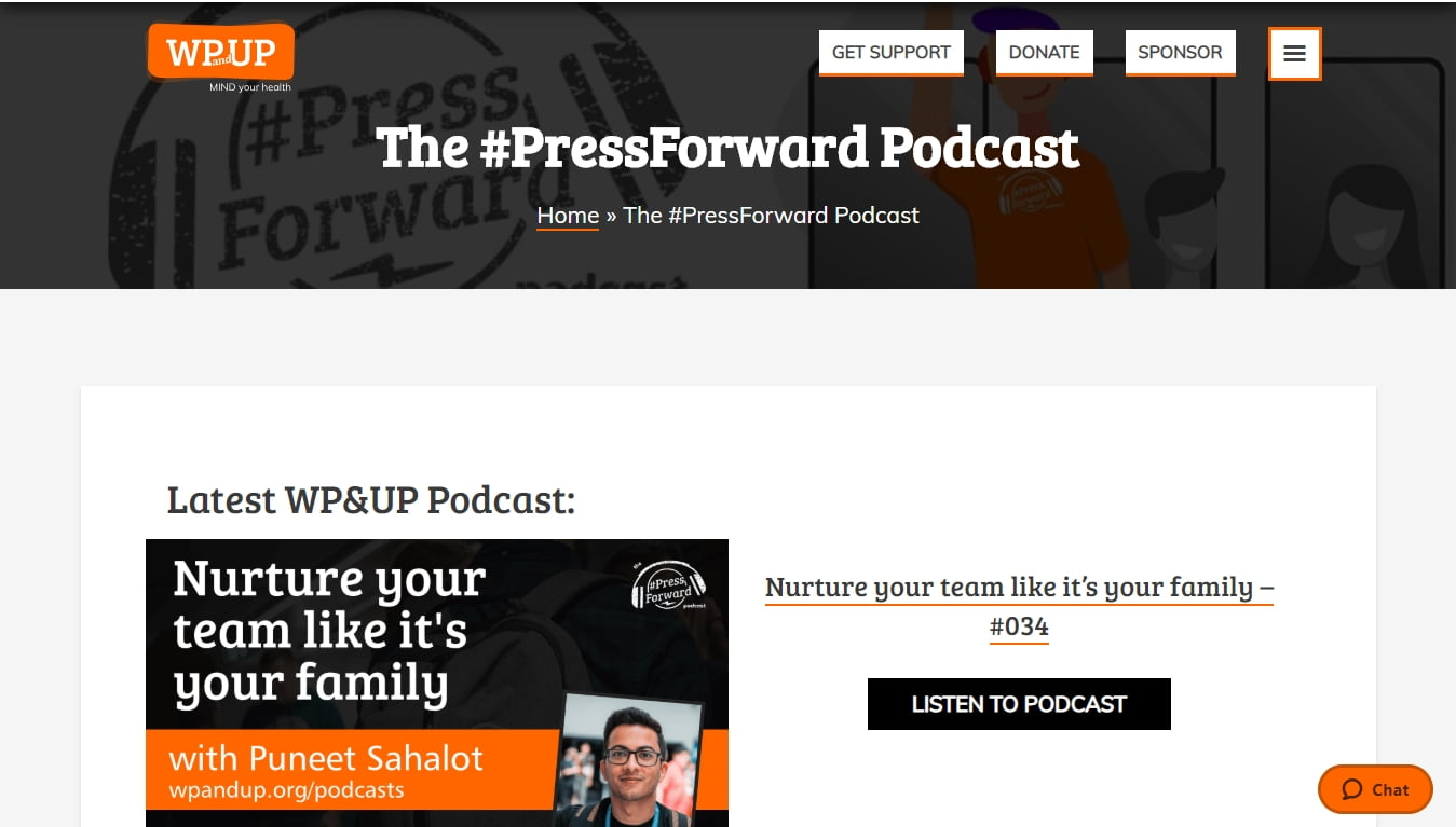 the press forward podcast homepage with the latest episode