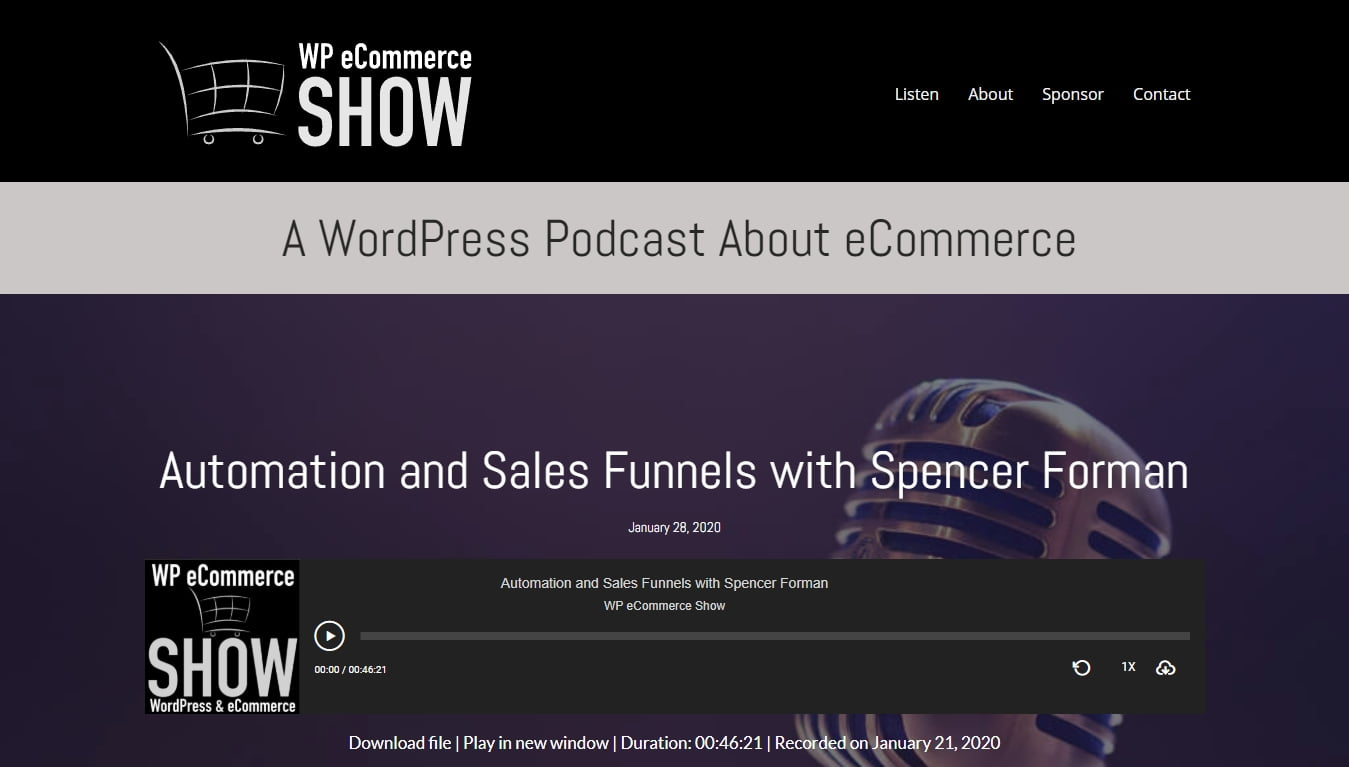 the wp ecommerce show homepage with latest episode