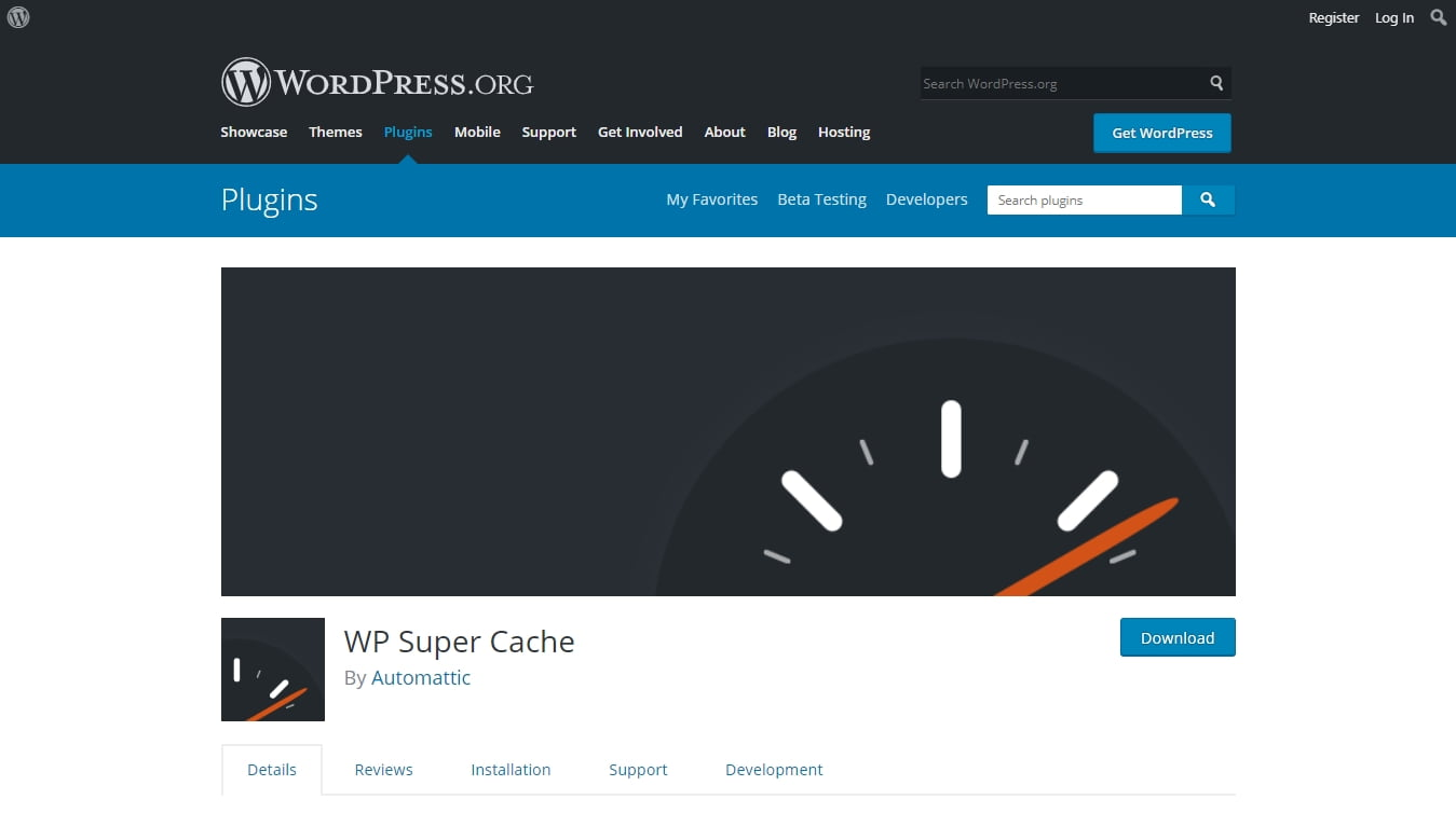 wp3 super cache download page from wordpress.org