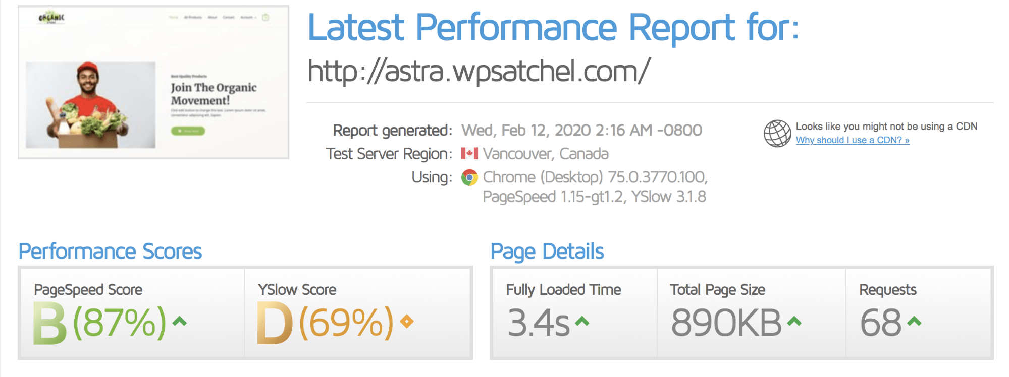 Speedtest results before installing Comet Cache