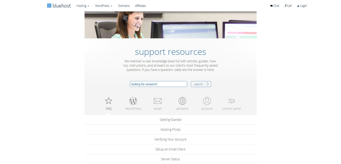 Bluehost's support page and resources