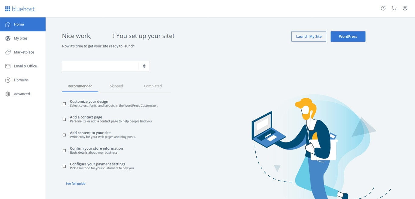 Bluehost admin panel screenshot after purchasing the hosting
