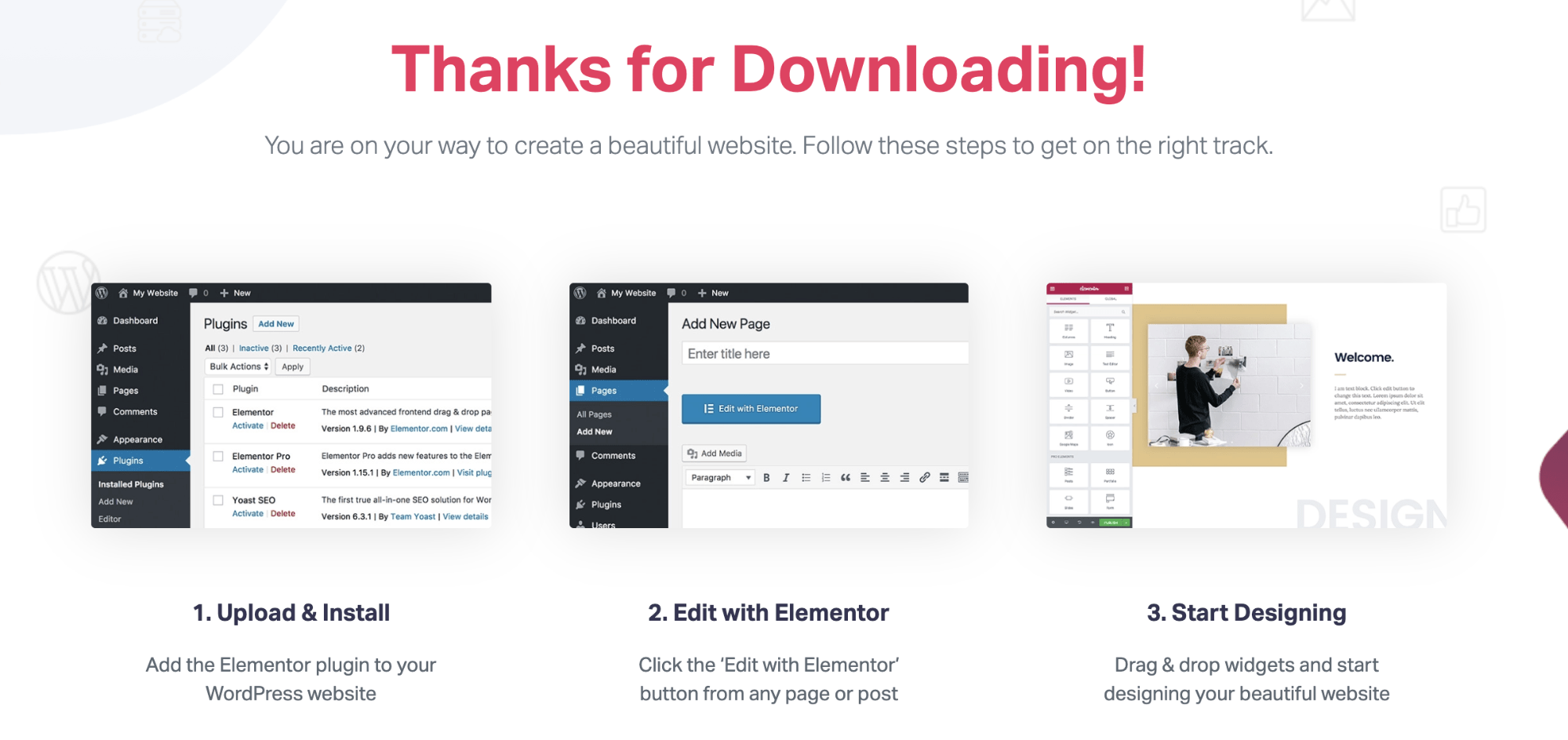 elementor thank you for downloading page