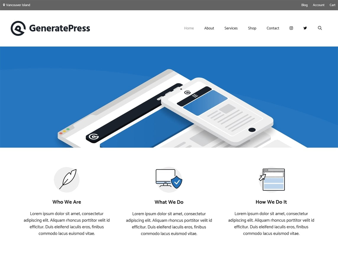 generate press theme homepage