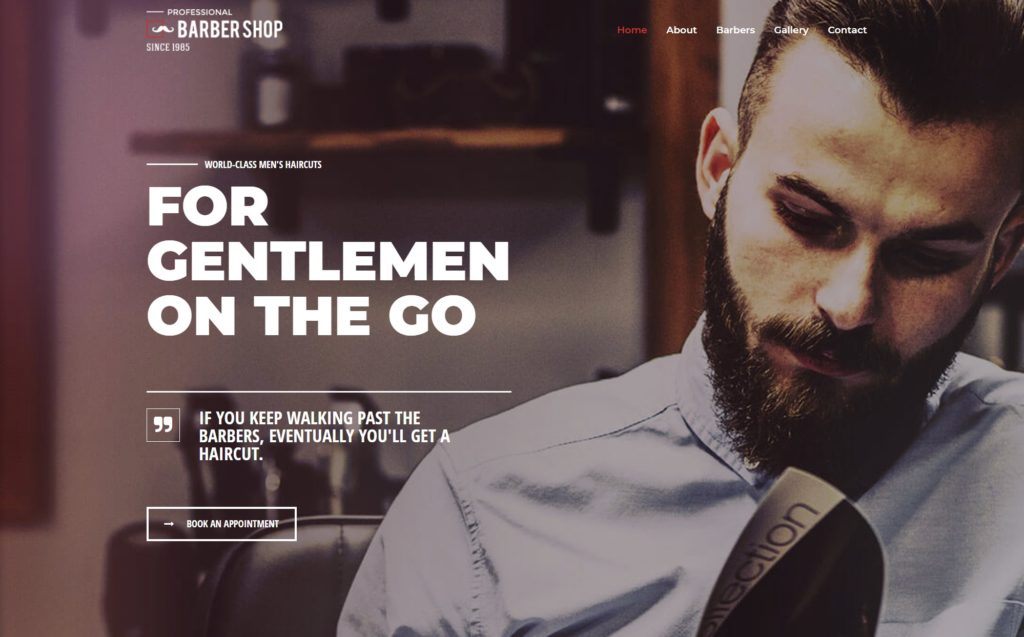website sample layout with guy on the header
