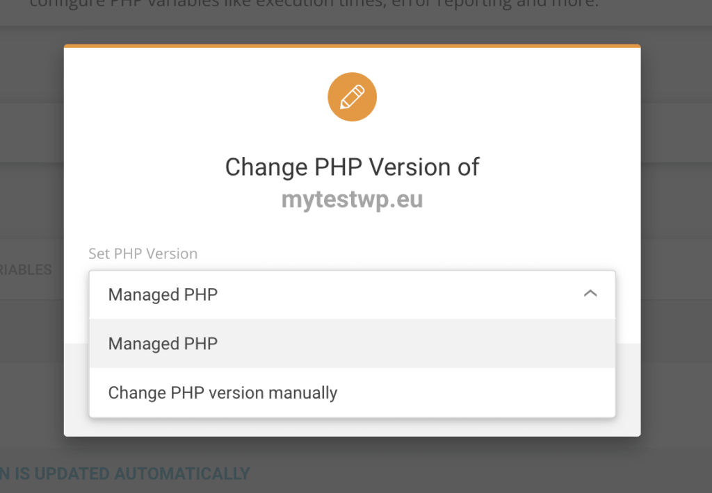 selecting option on siteground to select php version