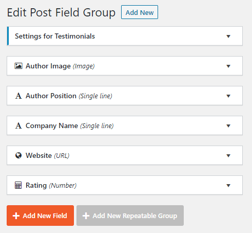 List of custom fields for testimonials CPT to be set up in Toolset
