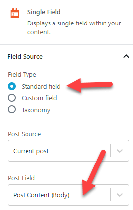 Single field settings for the Post Content