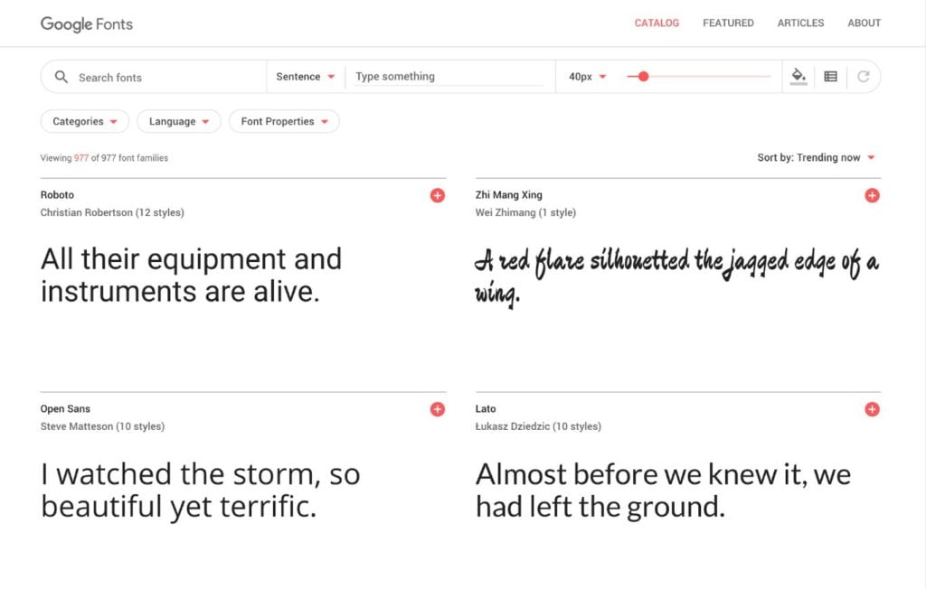 Google Fonts screenshot with a collection of fonts