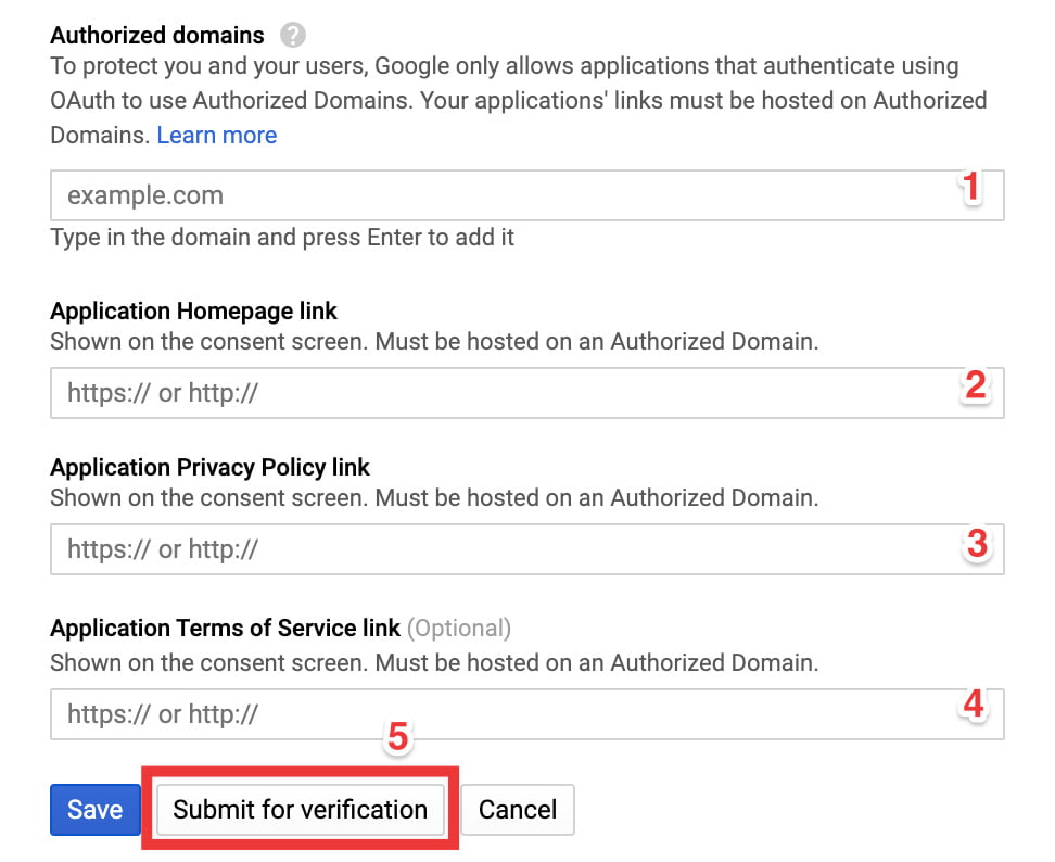 Google API OAuth Submit For Verification