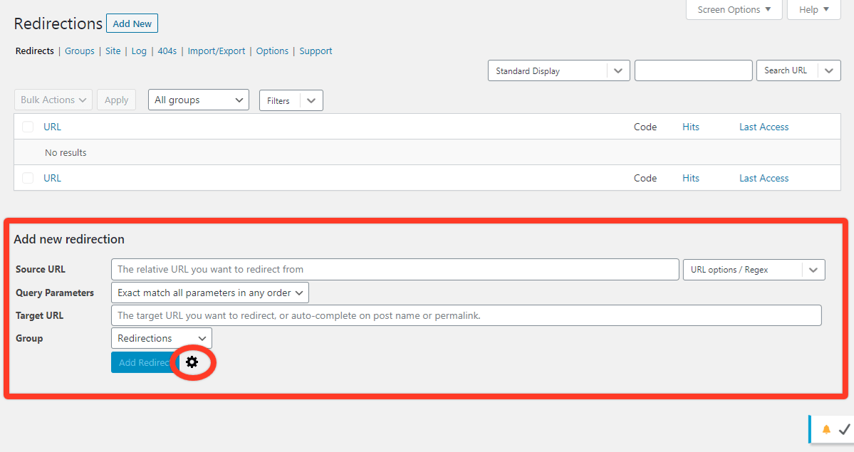 Adding a new redirection rule using the Redirection plugin