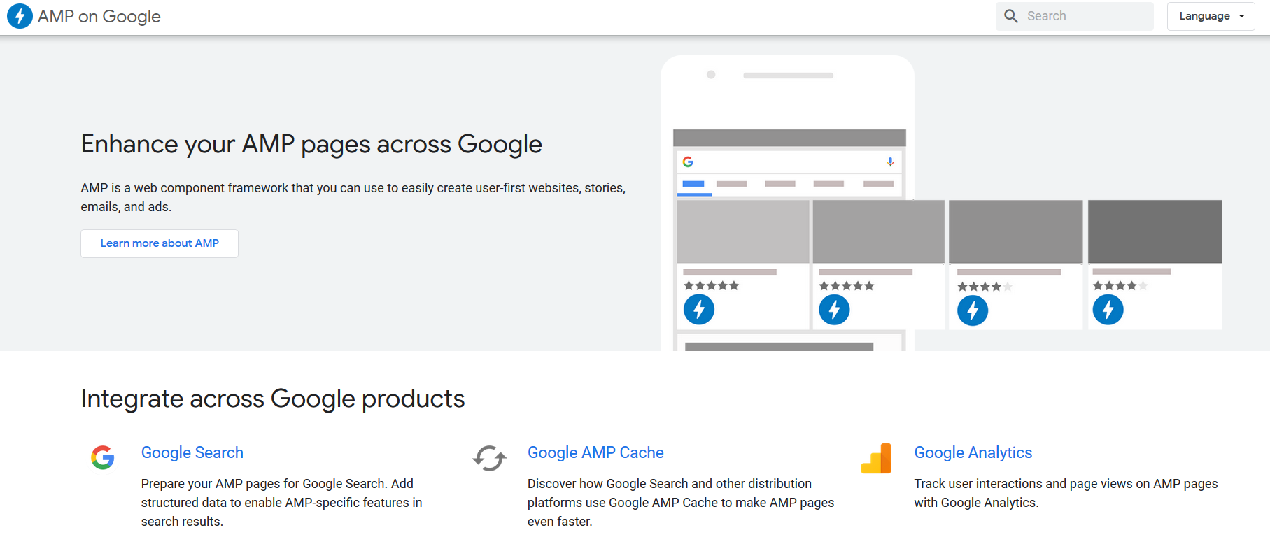 AMP on Google page screenshot