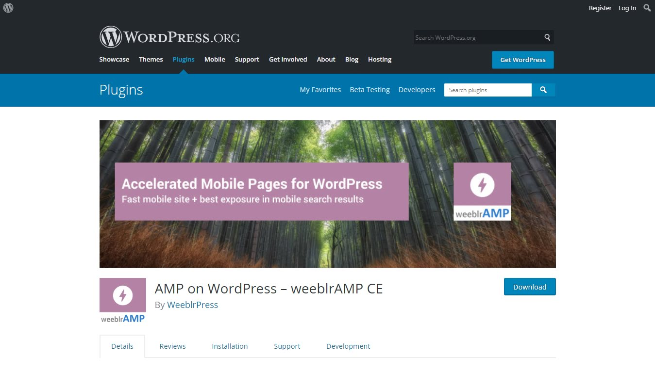 AMP on WordPress download page on WordPress.org