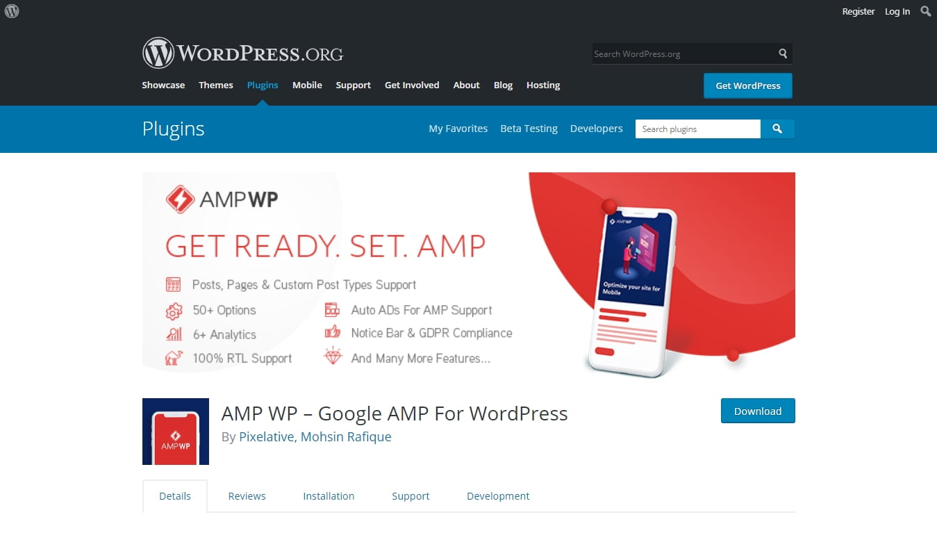 AMP WP download page on WordPress.org