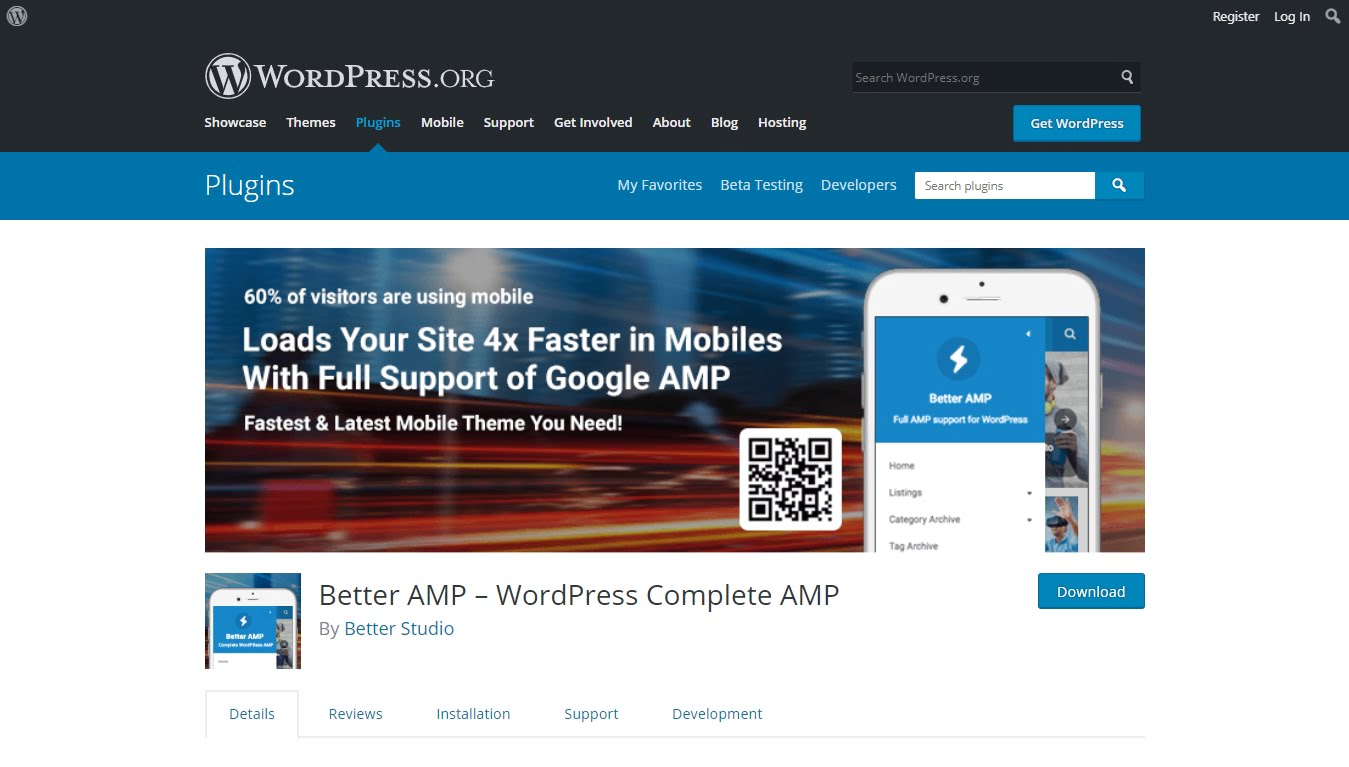 Better AMP download page on WordPress.org