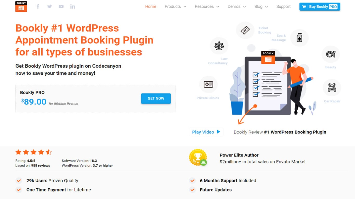 An image about Bookly plugin -- a standalone plugin for adding bookings to your site.