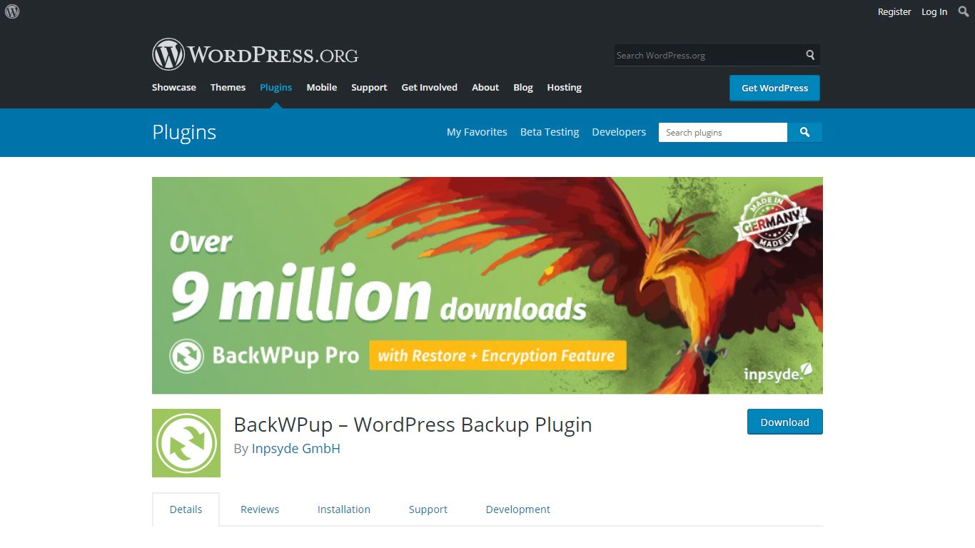 BackWPup download page from WordPress.org