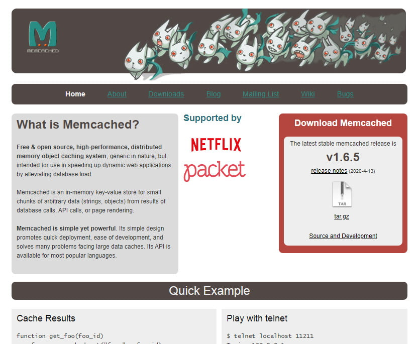Memcached homepage
