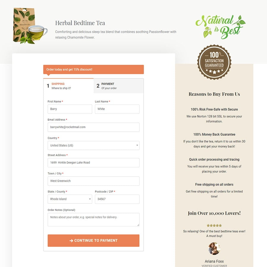 Optimized checkout page image