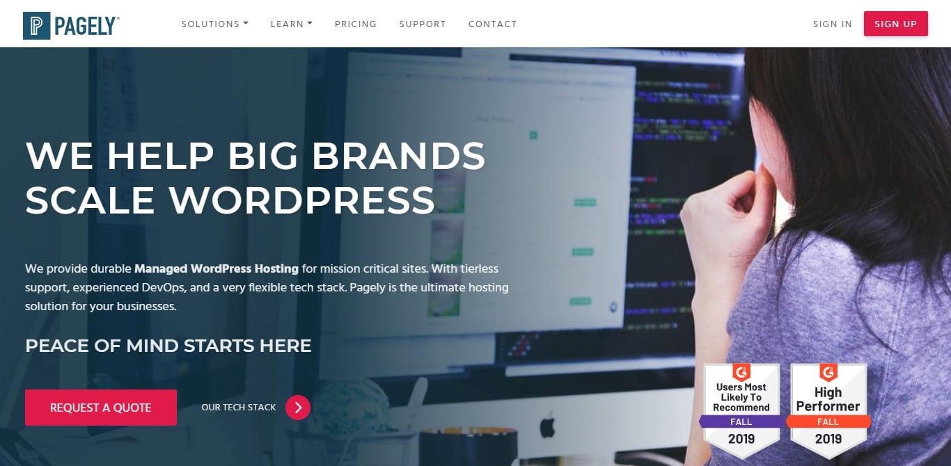 Pagely hosting homepage