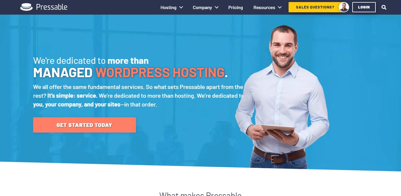 Pressable hosting homepage