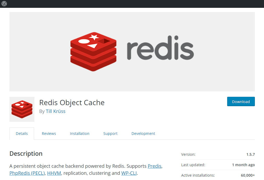Redis WordPress Page