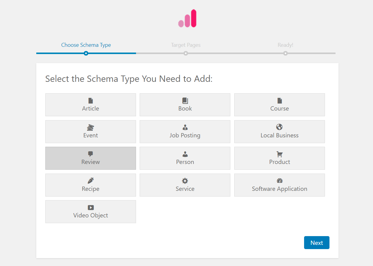 Selecting a type of schema markup to add using Schema Pro