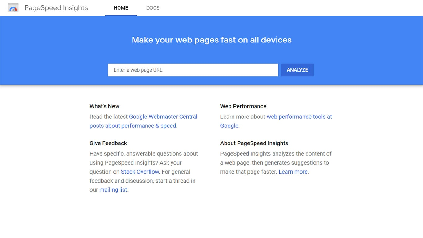 Web performance using Pagespeed