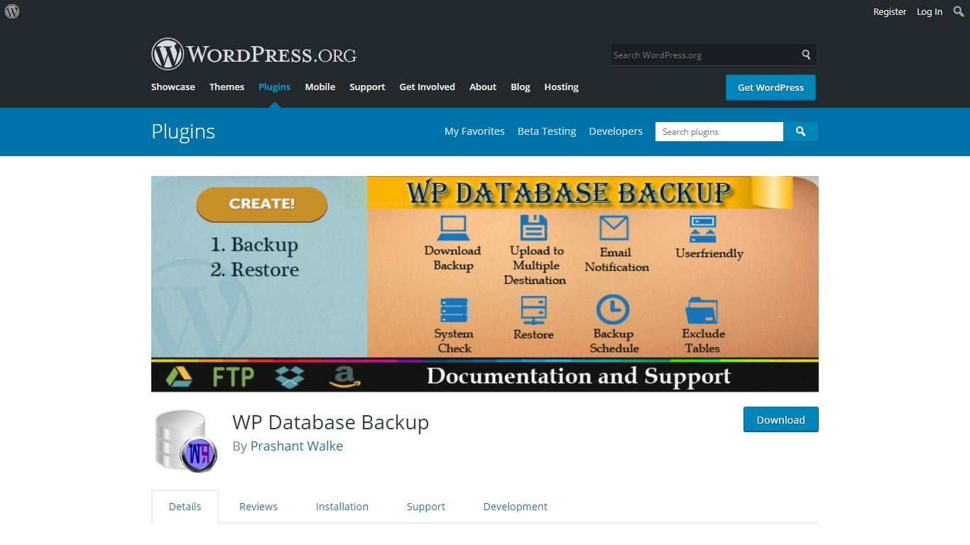 WP Database Backup download page from WordPress.org
