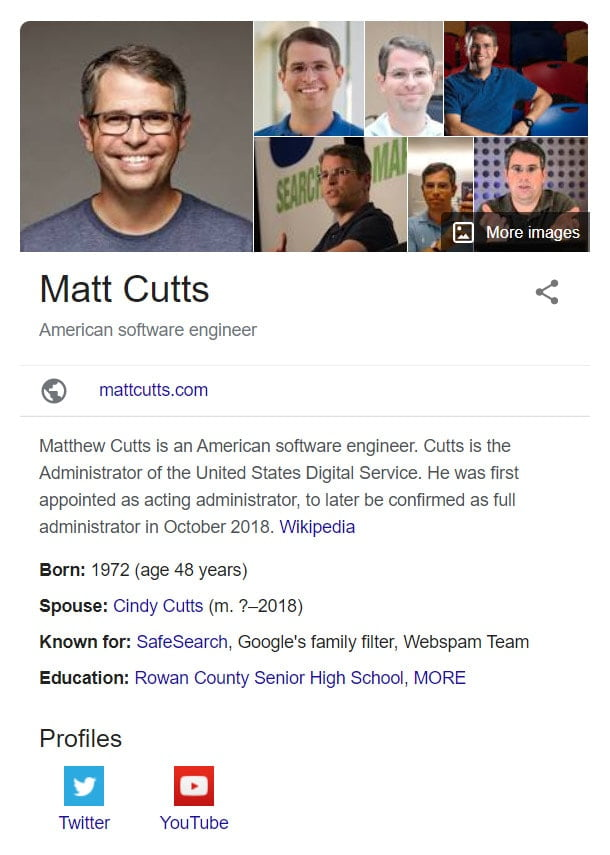 Person information on google