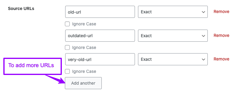 Rank Math source URLs for redirection