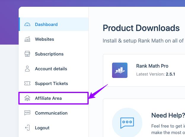Rank Math - Affiliate Area