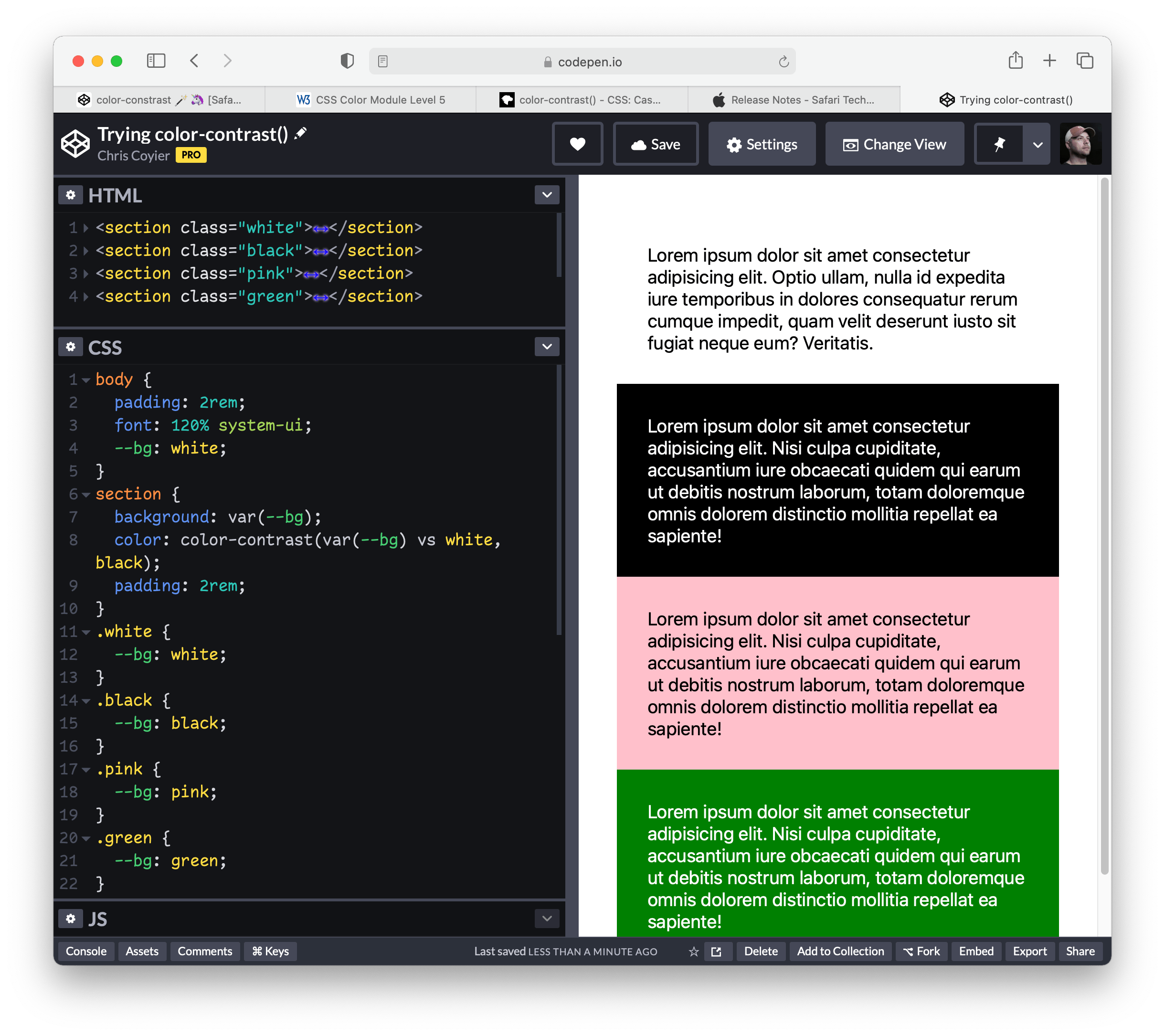 Exploring color-contrast() for the first time. 12