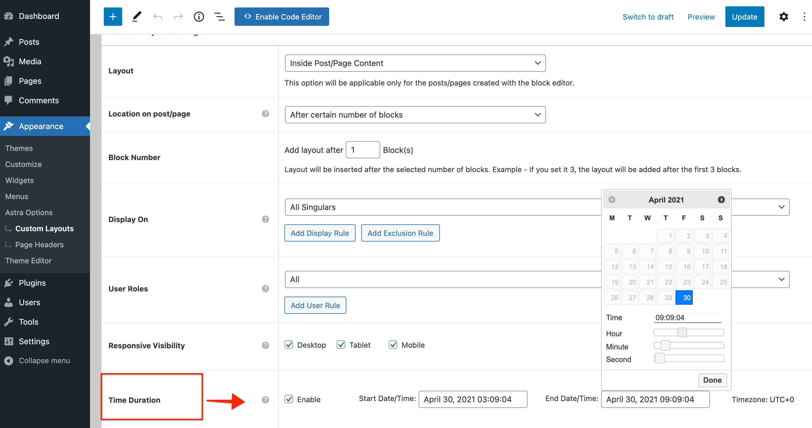 Custom Layouts - Time Duration Option