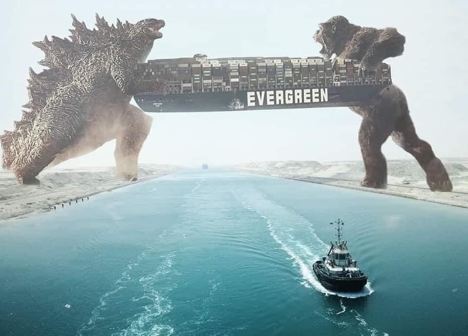 Godzilla and Kong save the Suez Canal!