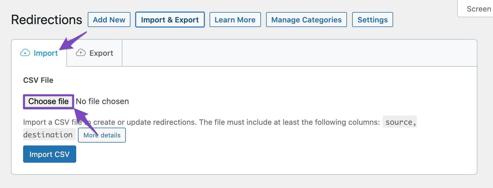 Choose CSV file to upload