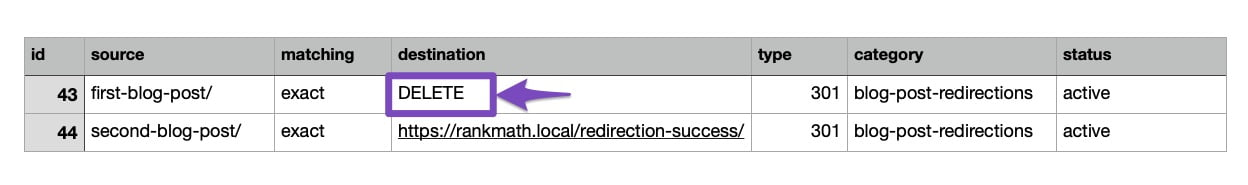 Deleting redirections using CSV