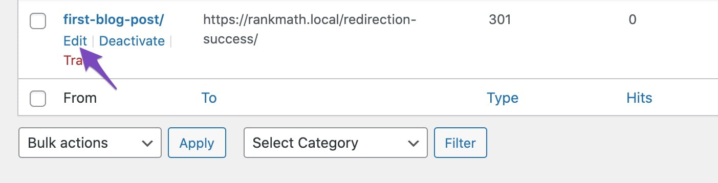 Edit a redirection