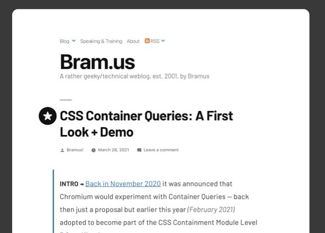 A Cornucopia of Container Queries 27