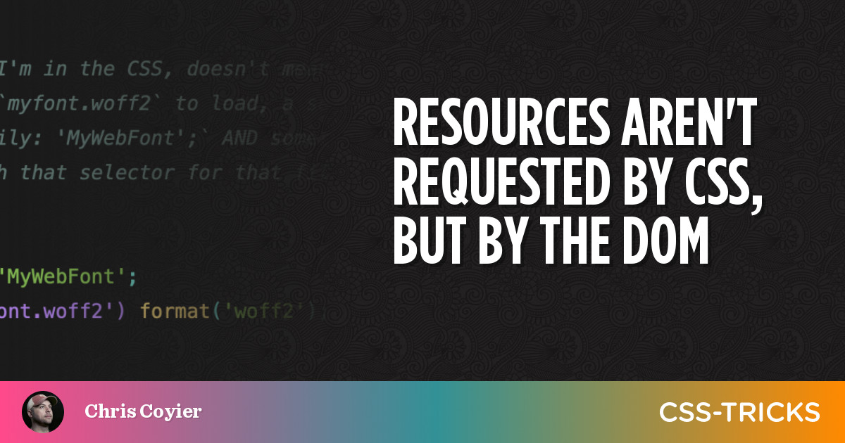 Resources aren't requested by CSS, but by the DOM 1